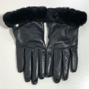 UGG Leather Cashmere Blend Shearling Cuffs Gloves